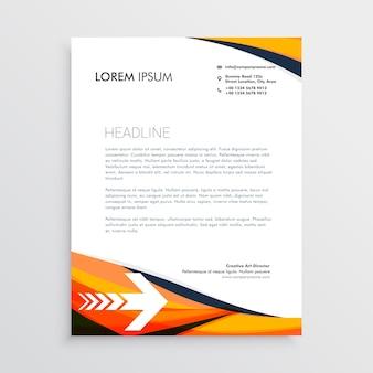 オレンジ色のビジネスレターヘッドクリエイティブデザイン