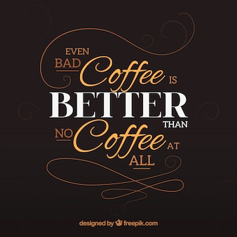 Lettering background with phrase about coffee