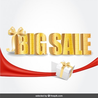 Lettering big sale with loop and present