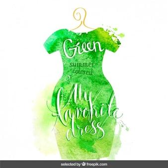 Lettering in green watercolor dress