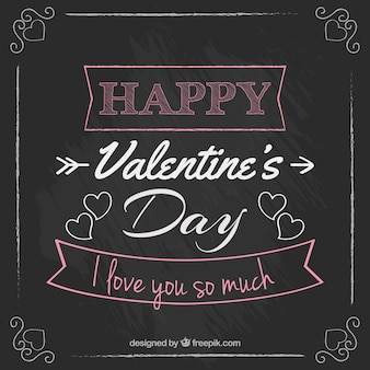 Lettering of valentine day in a blackboard style