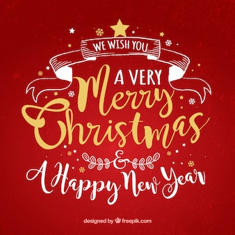 Lettering red background of merry christmas and new year