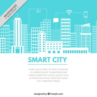 Light blue background with a technological city