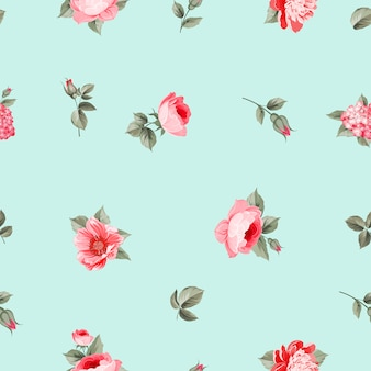 Light blue background with red flowers