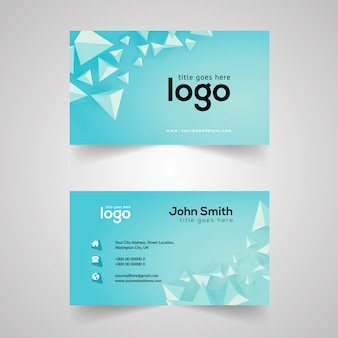 Light blue business card with geometric design