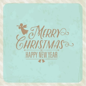 Light blue christmas background with angel