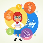 light bulb infographic back to school diary symbol
