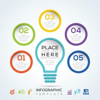 Light bulb infographic diagram presentation steps