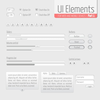 Light UI Elements Part 1: Sliders, Progress bar, Buttons, Authorization form, Volume control etc.