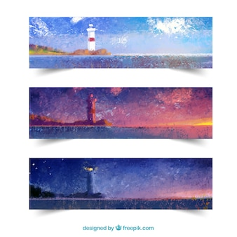 Lighthouse watercolour banners