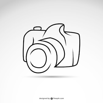 Line art camera symbol logo template