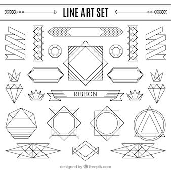 Line ornaments set