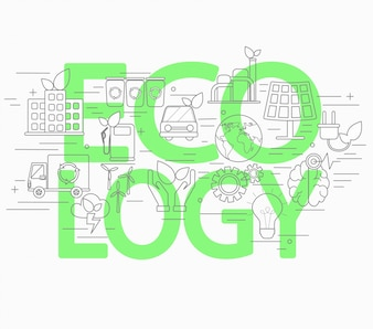 Line style concept of ecology.
