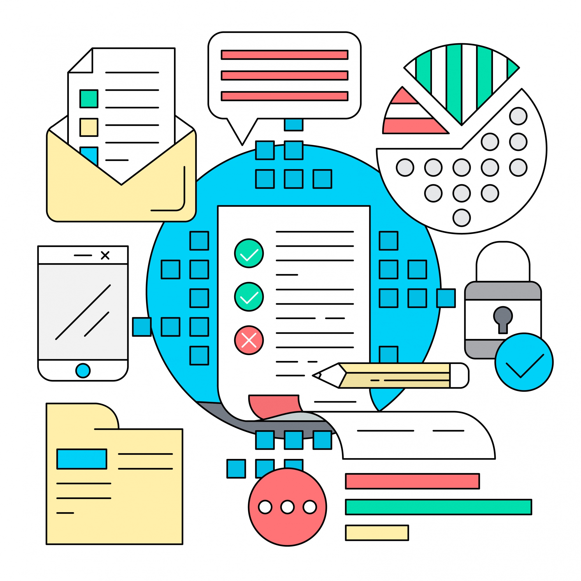 Linear business and analysis icons