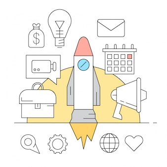 Linear icons about startup