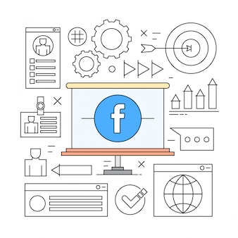 Linear icons for business and social networks
