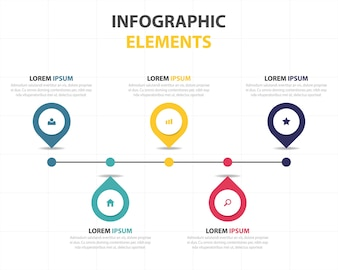 Linear infographics with 5 colors