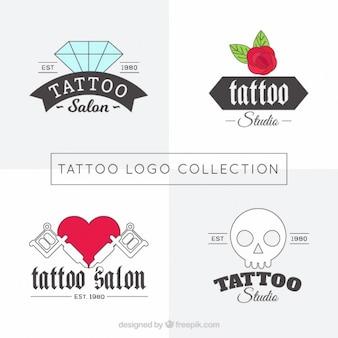Linear tattoos studio logos set