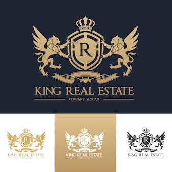ライオンのクレストロゴ。ホテル、スポーツクラブ、不動産、スパ、ファッションブランドアイデンティティのためのラグジュアリーロゴセットデザイン