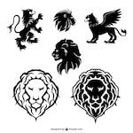 Lion graphic elements set
