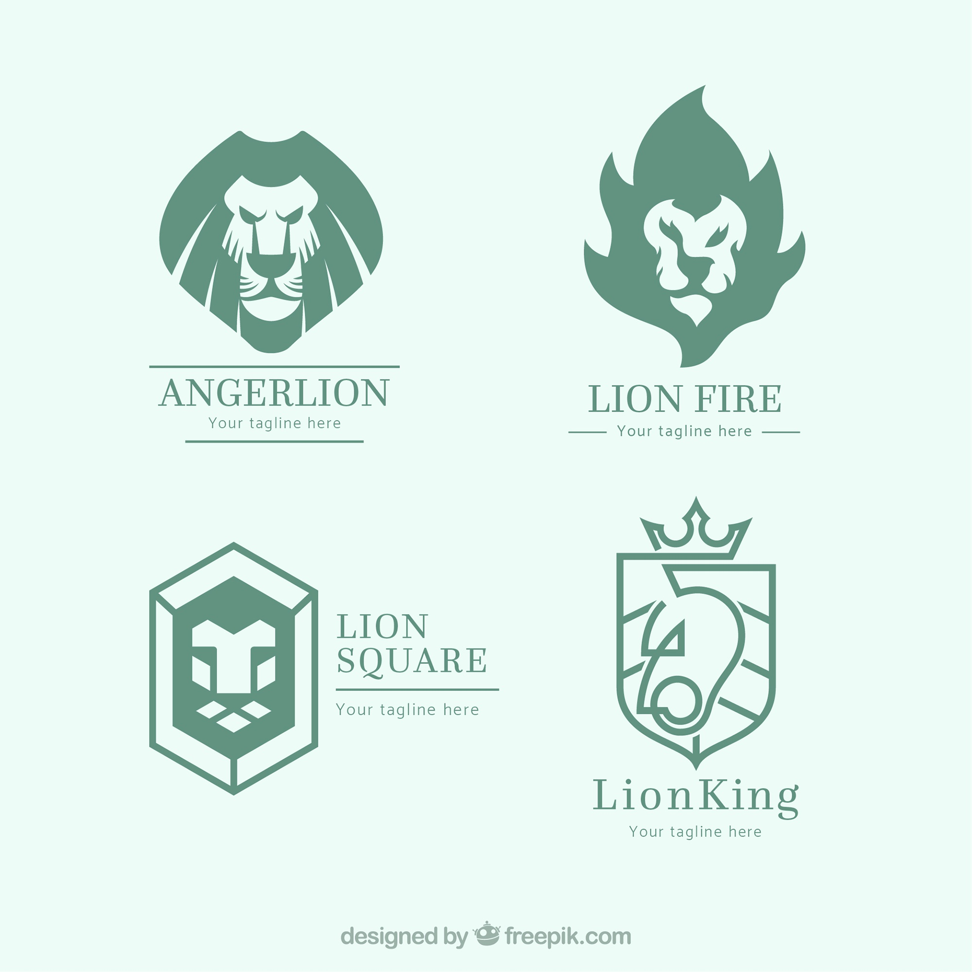 Lion logo collection with abstract style