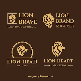 Lion logos, elegant style with a brown background