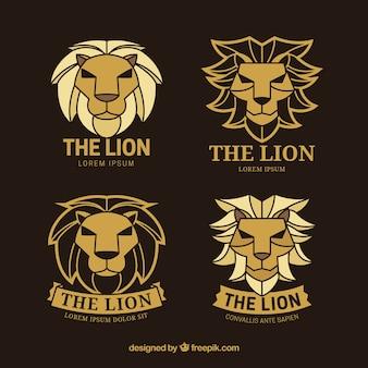 Lion logos, golden color with black background