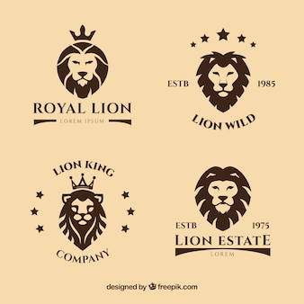 Lion logos with stars