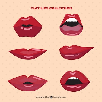 Lips set with glossy
