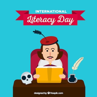 Literacy day background with shakespeare reading in flat design