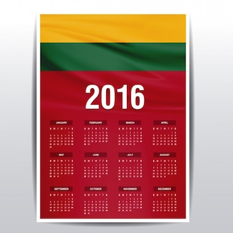 Lithuania calendar of 2016