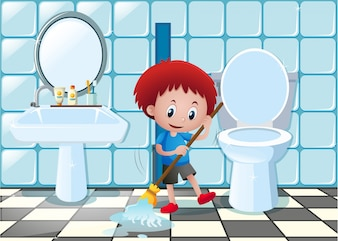Little boy cleaning bathroom floor