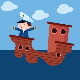 船の漫画のキャラクターで海を渡っている小さな船長