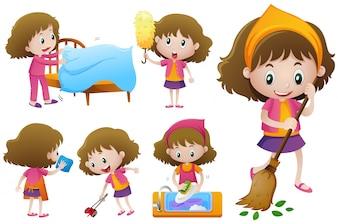Little girl doing different housework