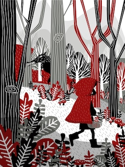 Little girl in red hood walking in forest