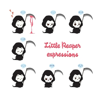 Little reaper illustration with emotions