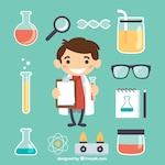 Little scientist with lab elements