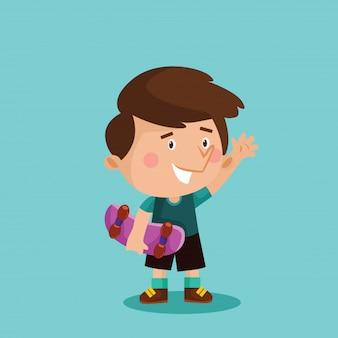 Little skaters boy cartoon character