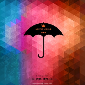 Little triangles background with black umbrella