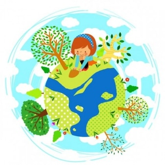 little world with a girl sowing