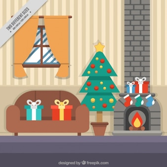 Living room background with christmas elements