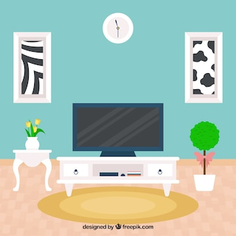 living room with fantastic tv in flat design