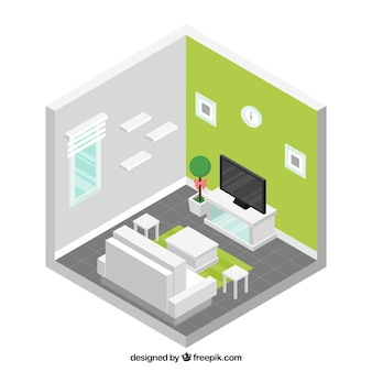 Living room with white furniture in isometric design