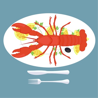 Lobster plate background design