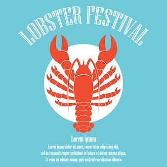 Lobster poster for lobster festival template. vector illustration