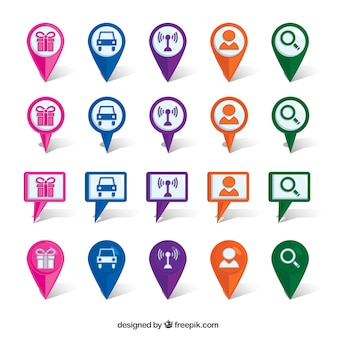 Location collection of colored icons