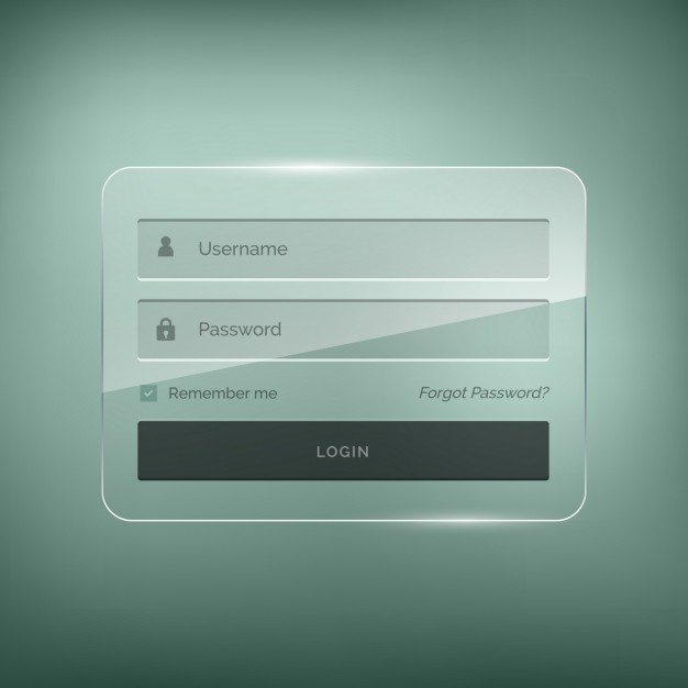 Login template with brightness effect