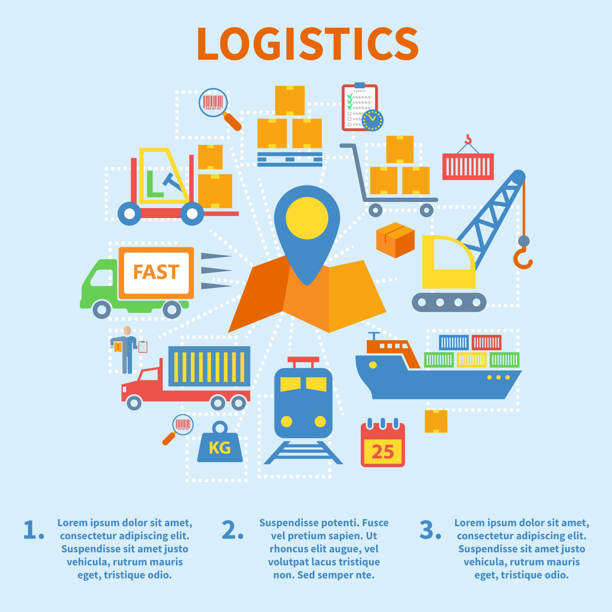 Logistic infographic flat icons set with map pin vector illustration