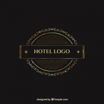 Logo template with golden ornaments