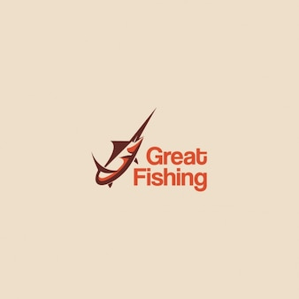 Logo with a fish on a beige background